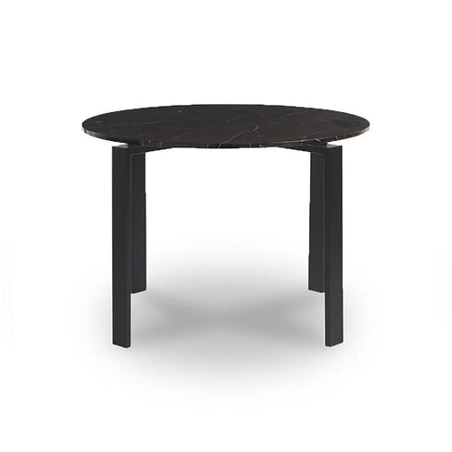Modern round black marble topped dining table with metal base in dark bronze finish