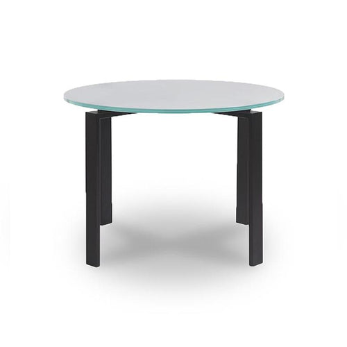 Modern round frosted glass topped dining table with metal base in dark bronze finish