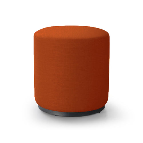 Orange modern upholstered round swivel ottoman with metal base