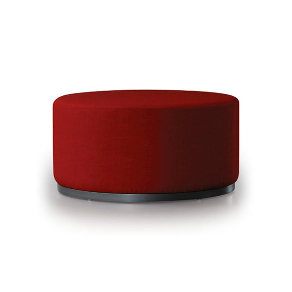 red modern upholstered round ottoman with metal base