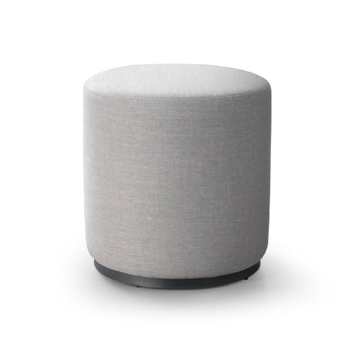 White modern upholstered round ottoman with metal base