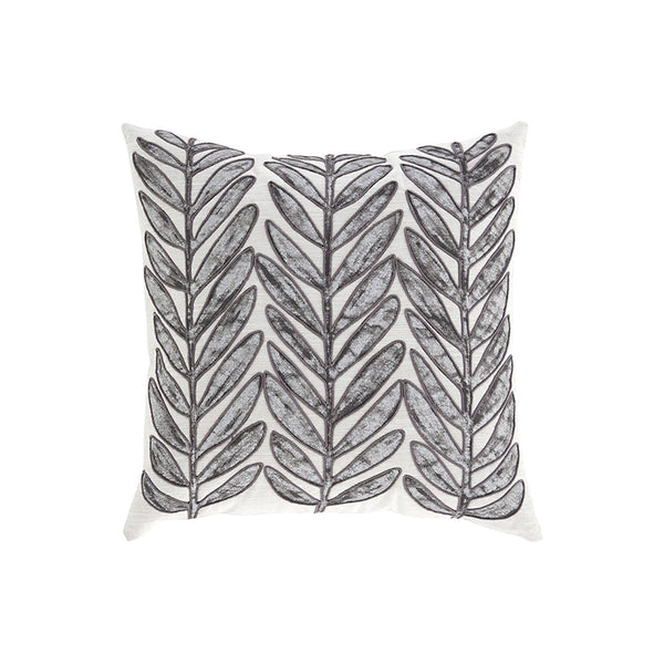 White and grey modern toss pillow with leaf pattern