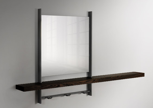 Modern mirror with metal frame and wood shelf