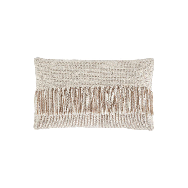Cream modern kidney toss pillow with fringe