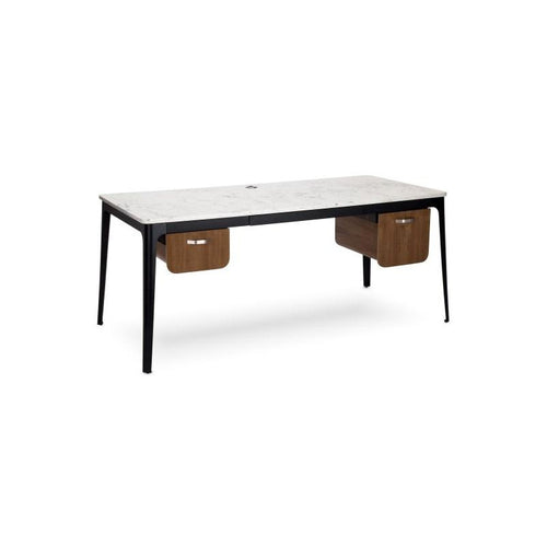 Modern quartz top desk with black metal legs and wood drawers