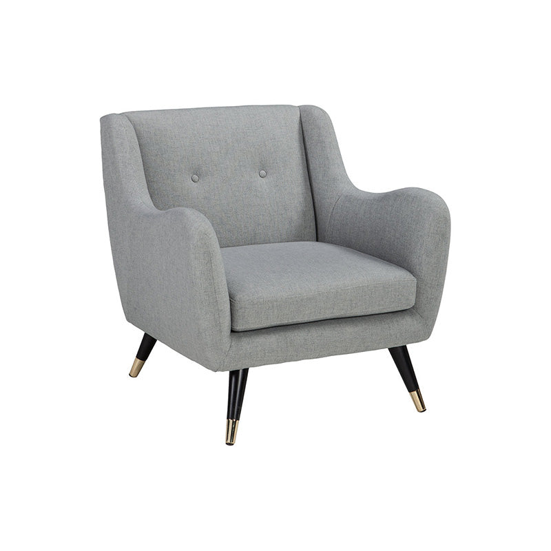 Grey modern fabric accent chair with black legs with gold tips