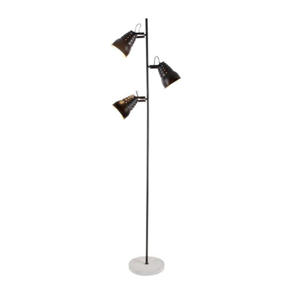 Metal modern pole lamp with three lights and a cement base