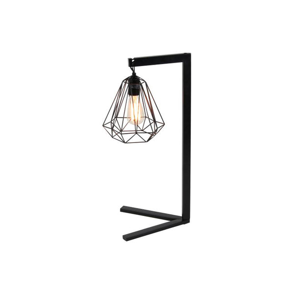 Black metal modern table lamp with cage shade