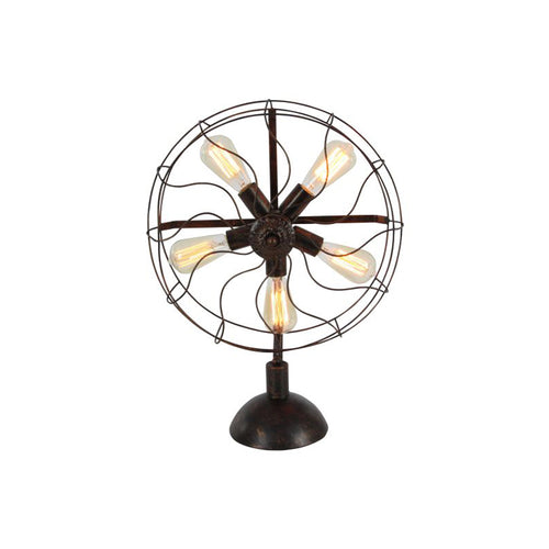 Metal fan light with five bulbs