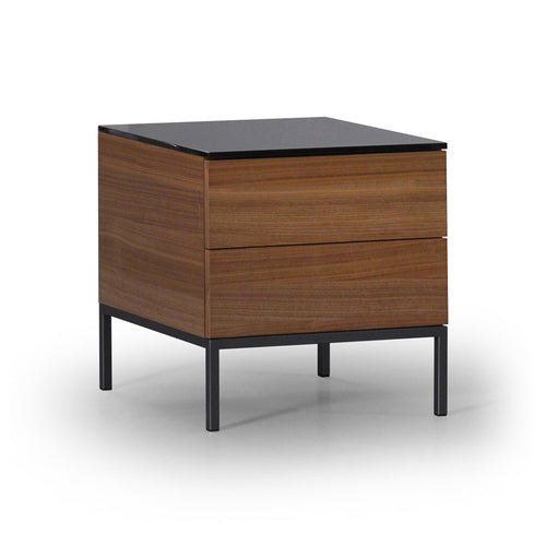 Walnut modern two drawer night table with glass top and metal base