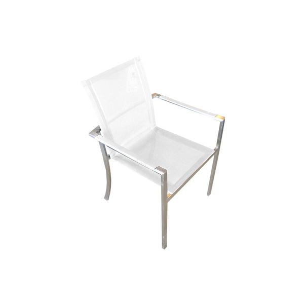 Modern white batyline outdoor dining chair with stainless steel frame