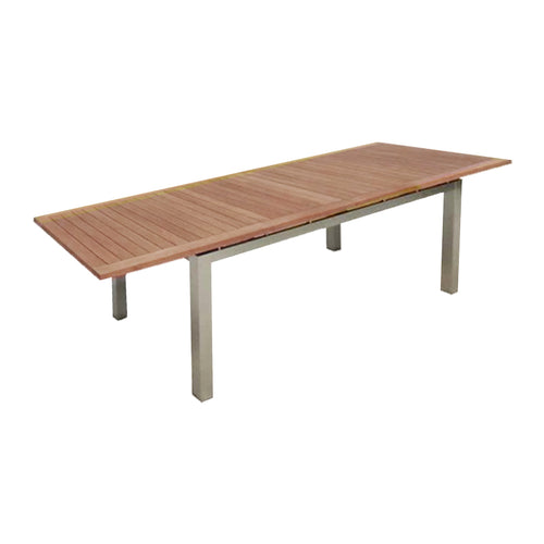 Modern teak outdoor dining table with stainless steel legs