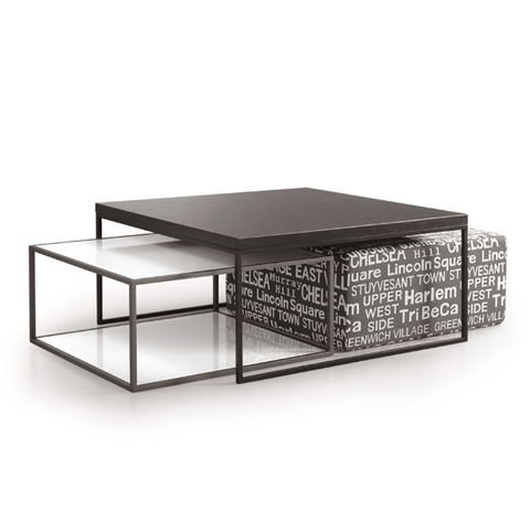 Modern coffee table set with glass and wood tops, metal frames, and an upholstered ottoman