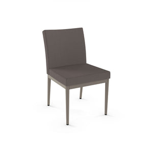 modern grey fabric custom order dining chair with grey metal frame