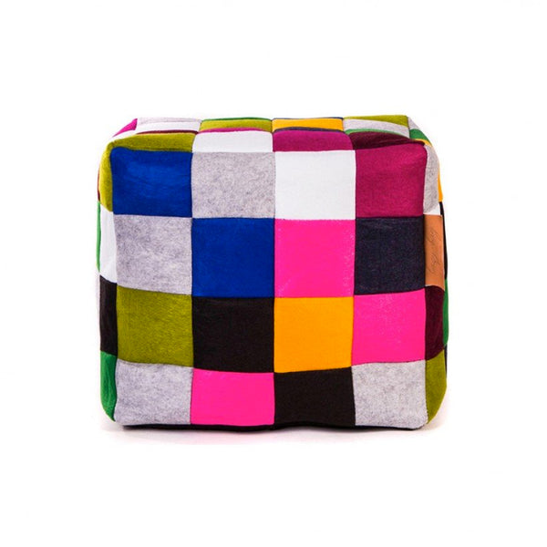 mutlicoloured patchwork modern fabric bean bag cube ottoman or chair