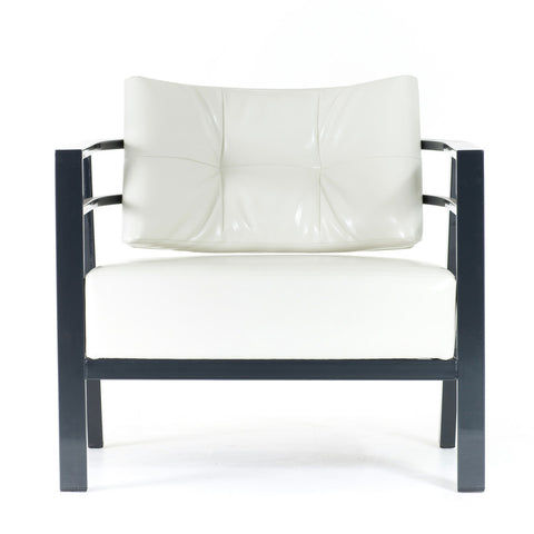 Modern upholstered arm chair with metal frame