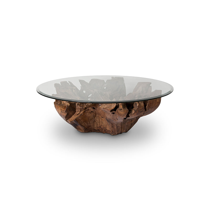 Teak modern live edge coffee table with tempered glass top