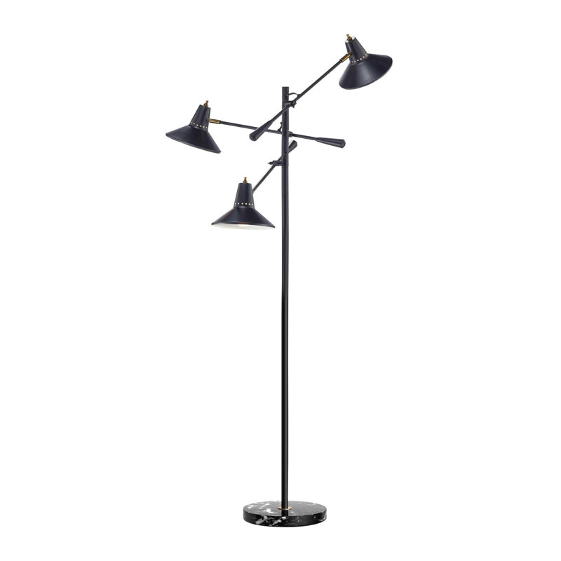 black metal modern three light floor lamp with antique brass accents