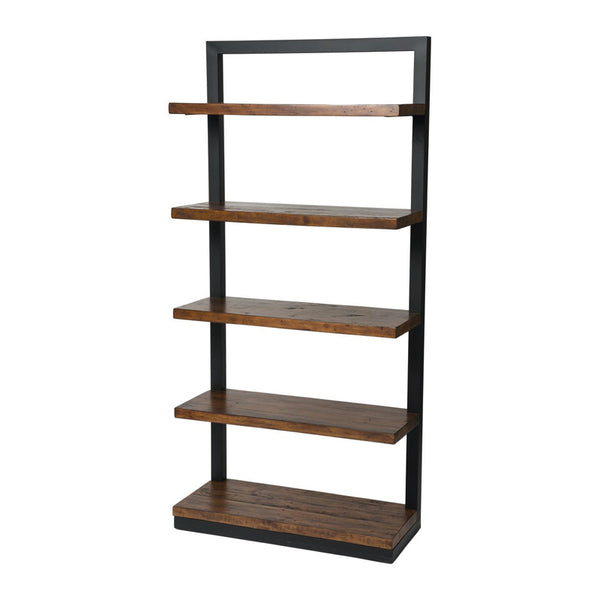 Coffee Bean Brown Modern Wood Bookcase with Black Powder Coat Metal Frame