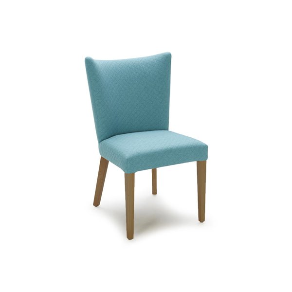 Turquoise modern fabric dining chair with walnut legs