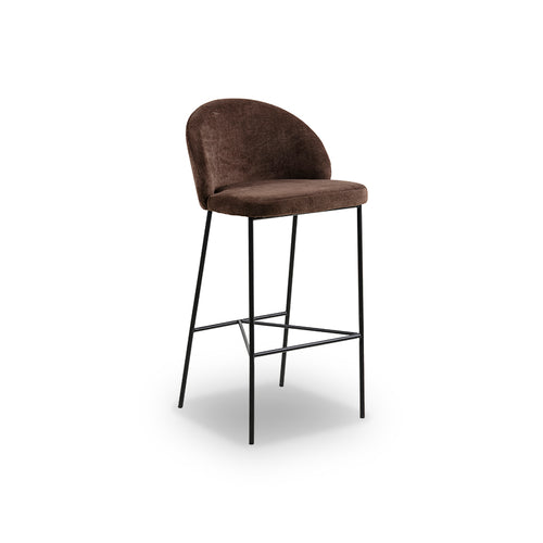 Brown modern fabric counter stool with matte black metal base