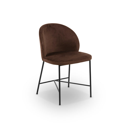 Brown modern fabric dining chair with matte black metal base