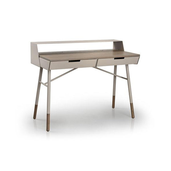 Walnut modern writing desk with cotton powder coat metal frame