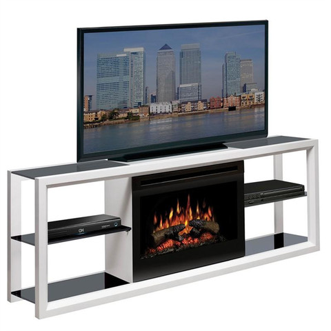 White modern electric fireplace media unit