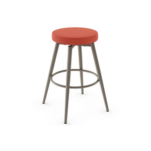 Orange modern fabric swivel counter stool with grey powdercoat metal legs