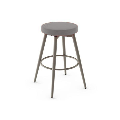 modern cloud grey fabric swivel counter stool with grey powdercoat metal legs