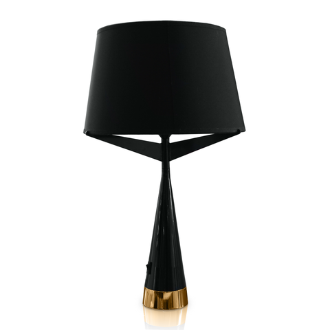 Black modern table lamp with gold brushed chrome at the base