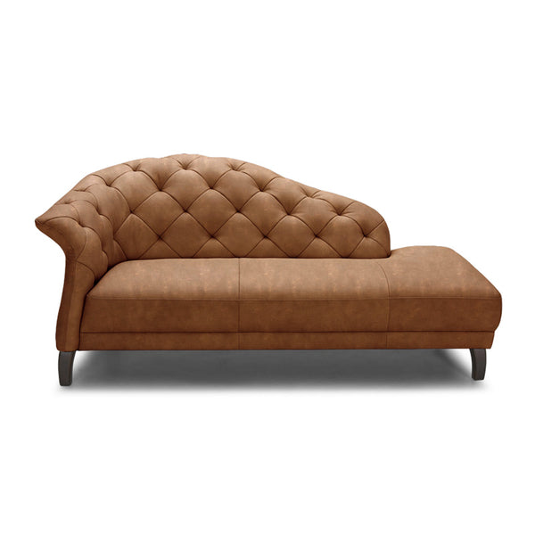 Modern Diamond Tufted Chaise in Top Grain Saddle Brown Leather