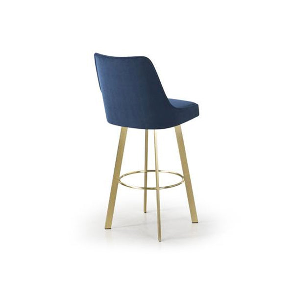 Dark blue modern upholstered bar stool with gold plated steel legs