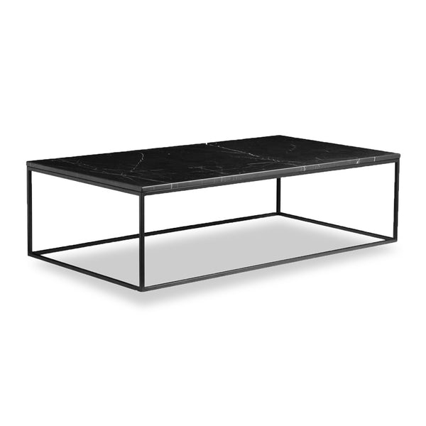 Black modern marble coffee table with black powder coat steel frame
