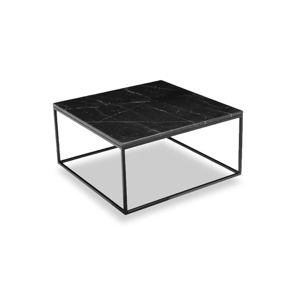 Black modern marble square coffee table with black powder coat steel frame