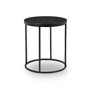 Black modern marble round end table with black powder coat steel frame