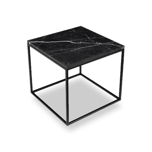 Black modern marble end table with black powder coat steel frame