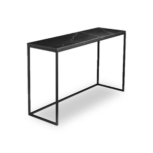 Black modern marble sofa table with black powder coat steel frame