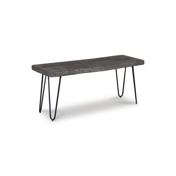 Modern live edge acacia wood bench with black powder coat metal legs