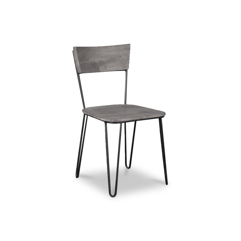 Modern solid acacia wood dining chair with black powder coat steel frame