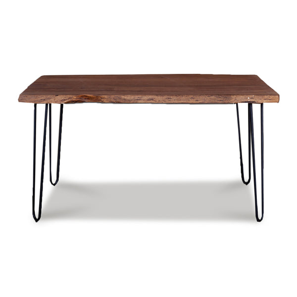 Modern live edge acacia wood dining table with black powder coat metal legs