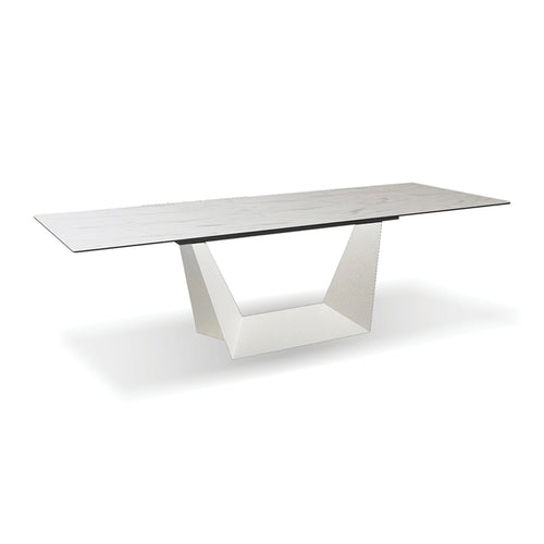 White marble pattern modern extendable dining table with ceramic top and white metal base