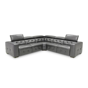 Dark grey modern leather sectional