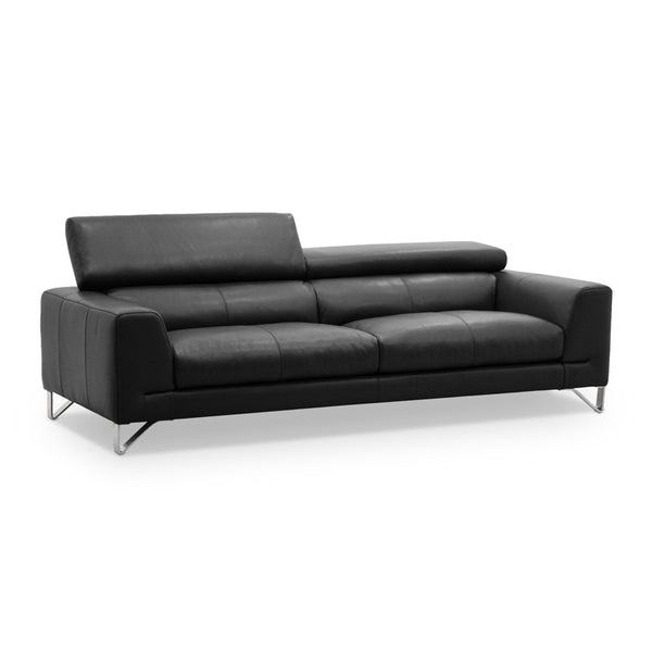 White modern leather sofa with metal legs