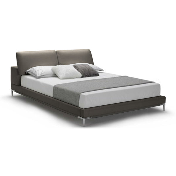 Light grey modern bonded leather bed with metal legs