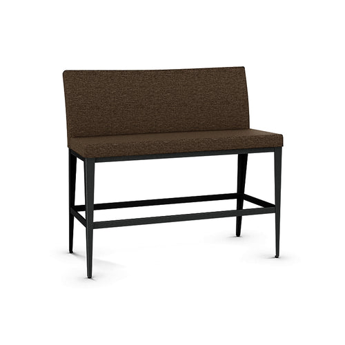 Brown modern fabric counter height dining bench with black metal legs