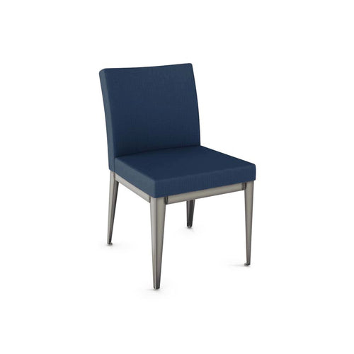 Modern upholstered dining chair with metal lets
