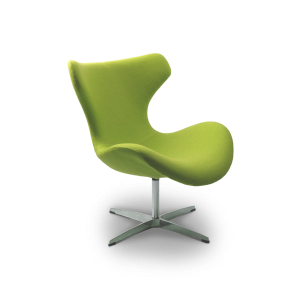 Green modern fabric occasional chair with chrome base