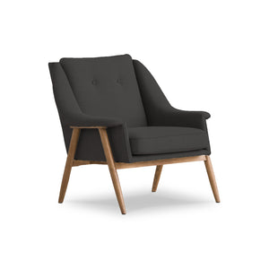 Sand beige modern fabric arm chair with walnut legs
