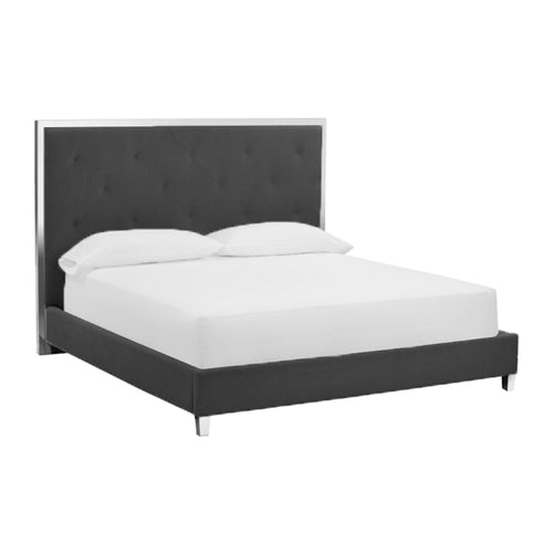 Black modern bonded leather bed with stainless steel border and legs